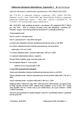 Odborové združenie železničiarov, Vajnorská 1, B r a t i s l a v a