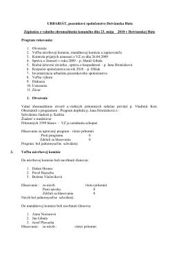 Zápisnica z valného zhromaždenia konaného dňa 23. mája 2010 a