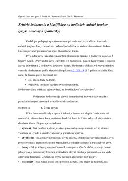 Kritériá hodnotenia a klasifikácie na hodinách cudzích jazykov