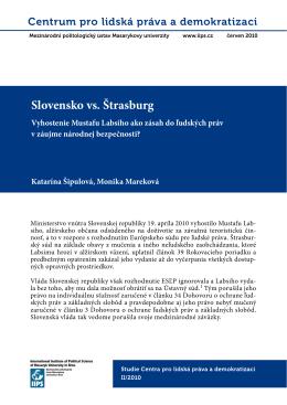 Slovensko vs. Štrasburg - Centrum pro lidská práva a demokratizaci