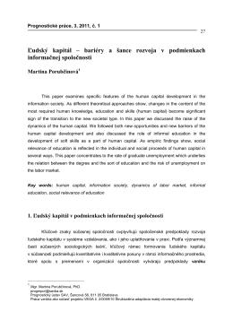 bariéry a šance rozvoja v podmienkach informačnej spoločnosti