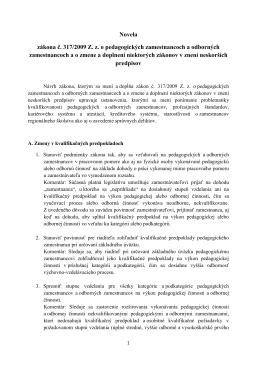 Novela zákona č. 317/2009 Z. z. o pedagogických zamestnancoch a