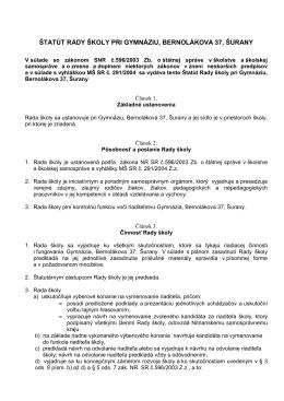 Štatút Rady školy pri gymnáziu - Gymnázium, Bernolákova 37, Šurany