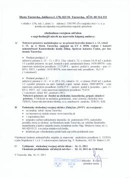 Mesto Turzovka, Jašíkova č. 178, 023 54 Turzovka, IČO: OO 314