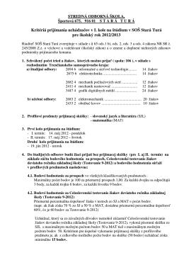 Kritériá prijímania uchádzačov v I. kole na štúdium v SOŠ Stará Turá