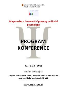 Program konference AŠP 2013 - Univerzita Tomáše Bati ve Zlíně