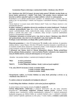 Gymnázium Myjava informuje o možnostiach štúdia v školskom roku