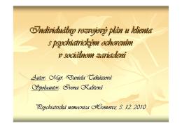 Individuálny rozvojový plán u klienta s psychiatrickým ochorením v