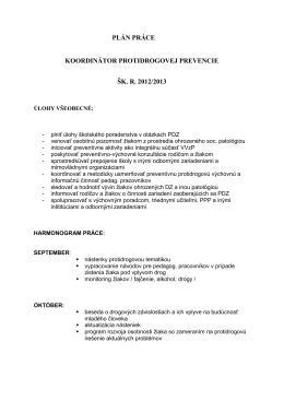 plán práce koordinátor protidrogovej prevencie šk. r. 2012/2013