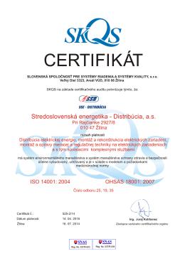 Certifikát Stredoslovenská energetika - Distribúcia, a. s.