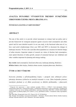 analýza dynamiky vývojových trendov funkčného urbánneho územia