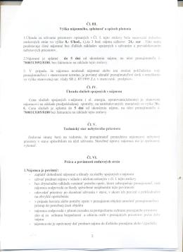Cl. III. Výška nájomného, splatnost a spôsob platenia 2.Nájomné je