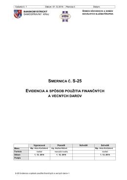 S-25 Evidencia a spôsob použitia finančných a vecných darov-1