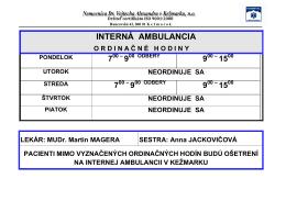 Ordinačné hodiny v internej a chirurgickej ambulancii.