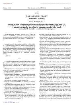275/2011 Nariadenie vlády Slovenskej republiky, ktorým sa mení a
