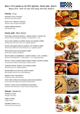 Menu á 10 €-ponuka na rok 2013 (polievka, hlavné jedlo, dezert