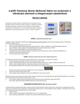 e-pill® Vreckový denný dávkovač liekov so zvukovým a vibračným