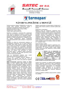 Manuál - Satec SK a.s.