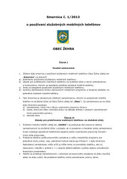 Smernica č. 1/2013 o používaní služobných mobilných telefónov
