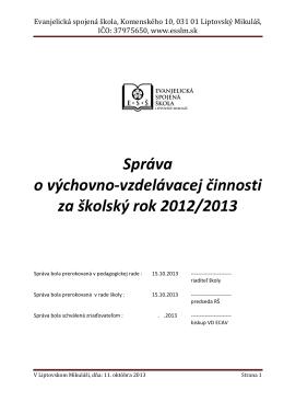 Správa 2012-2013 - Evanjelická spojená škola | Liptovský Mikuláš