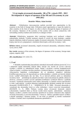 Vývoj stupňa otvorenosti ekonomiky SR a ČR v rokoch 1995 – 2012
