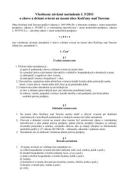 Všeobecne záväzné nariadenie č. 5/2011 o chove a držaní zvierat