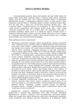 Zdravá chrbtica školáka - Regionálny úrad verejného zdravotníctva