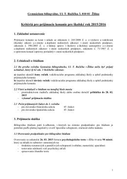Kritériá pre prijímacie konanie do 1. ročníka v školskom roku 2015