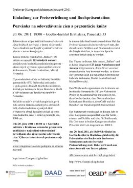 Einladung zur Preisverleihung und Buchpräsentation Pozvánka na