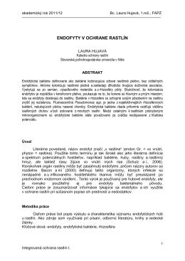endofyty v ochrane rastlín - Slovenská poľnohospodárska univerzita