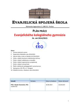 Plán práce EKG na školský rok 2014 / 2015.