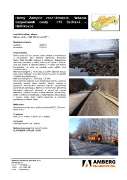 Horný Zemplín rekonštrukcia, riešenie bezpečnosti cesty I/15 Sedliská