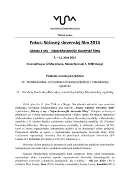 Fokus: súčasný slovenský film - Ústav divadelnej a filmovej vedy SAV