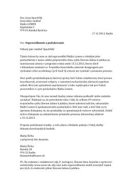 Doc. Juraj Spuchľák Generálny riaditeľ Rádio LUMEN Kapitulská 2