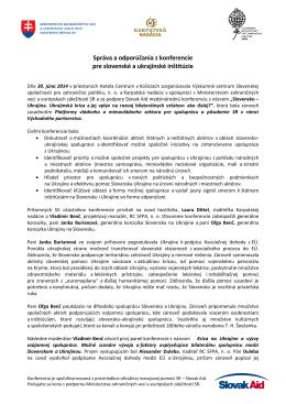 Správa a odporúčania z konferencie pre slovenské a ukrajinské