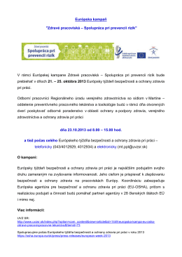 """Európska kampaň """"Zdravé pracoviská – Spolupráca pri prevencii"""