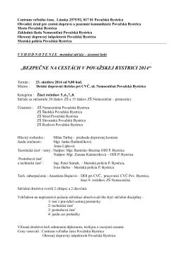 jesenná časť: výsledky - Centrum voľného času Považská Bystrica
