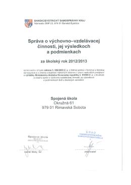SŠ-Správa o výchovnovzdelávacej činnosti v škol. roku 2012-2013
