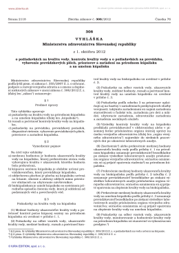 308/2012 Vyhláška Ministerstva zdravotníctva Slovenskej republiky