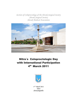 Nitra´s Coloproctologic Day with International Participation 4th