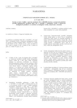 Vykonávacie nariadenie Komisie (EÚ) č. 505/2012 zo 14. júna 2012