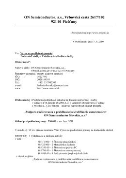 ON Semiconductor, a.s., Vrbovská cesta 2617/102 921 01 Piešťany