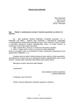 Žiadosť o sprístupnenie cesty k pozemkom.pdf