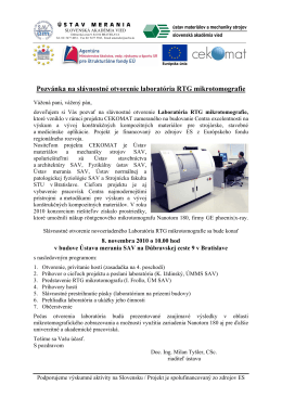 Pozvánka na slávnostné otvorenie laboratória RTG mikrotomografie
