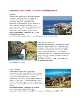 Fakultatívne výlety Kalábria LETO 2013 – hotel Borgo di - FIRO-tour