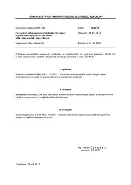 Smernica predsedu SŠHR SR č. 10/2010 Povinnosti ochraňovateľa