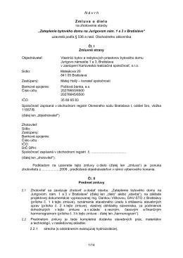"""N á v r h 1/14, Zmluva o dielo na zhotovenie stavby """"Zateplenie"""