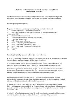 Zápisnica z ustanovujúceho zasadnutia Obecného zastupiteľstva