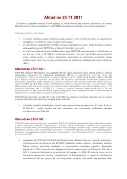 Aktuálne 23.11.2011 - Správa štátnych hmotných rezerv Slovenskej