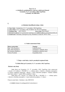 S p r á v a I. - Gymnázium , Ul. 17. novembra 1180, Topoľčany